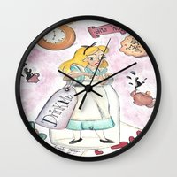 alice in wonderland Wall Clocks featuring Wonderland  by Marilyn Rose Ortega