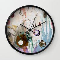 moon phase Wall Clocks featuring Pisces Moon, Phase 1 by Ysabel Price