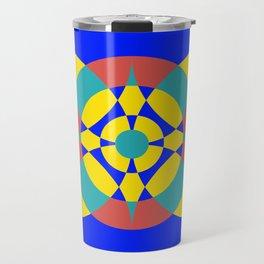 Flower Circles on Blue Travel Mug
