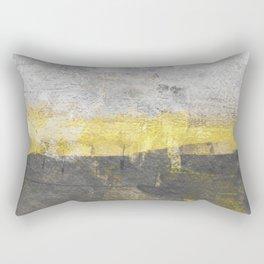 Yellow and Grey Abstract Painting - Horizontal Rectangular Pillow