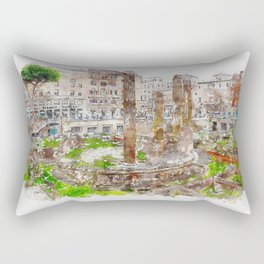 Aquarelle sketch art. Archaeological area of Largo Torre Argentina. Rome. Italy. Rectangular Pillow