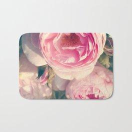 Shabby Chic Flowers, Ranunculus Roses, Spring, Romantic Floral Decor Bath Mat