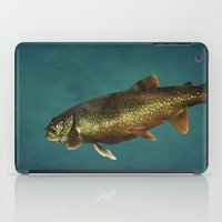 trout iPad Cases featuring Trout on Teal Blue by Brooke Ryan Photography