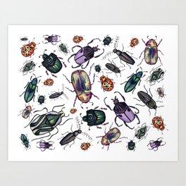 Watercolor Beetle Pattern 2 Art Print