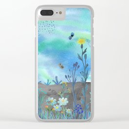 Blue Garden I Clear iPhone Case