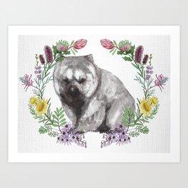 Wombat in Floral Wreath Art Print