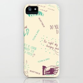 Doodlethrob (Tegan and Sara) creme iPhone Case