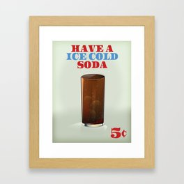 Ice Cold Soda drinks poster. Framed Art Print