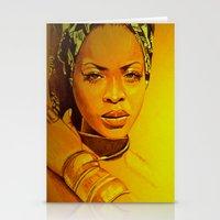 erykah badu Stationery Cards featuring Erykah badu by Dezz Manuel