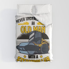 Never underestimate an old man with a steamroller  TShirt Construction Worker Shirt Construction Comforters