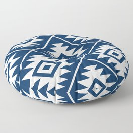 Aztec Symbol Ptn White on Dk Blue Floor Pillow