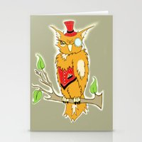 steam punk Stationery Cards featuring Steam Punk Owl by J&C Creations