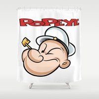 popeye Shower Curtains featuring popeye by store2u