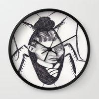 kafka Wall Clocks featuring Franz Kafka--Author Portrait Metamorphosis by Wicked Ink