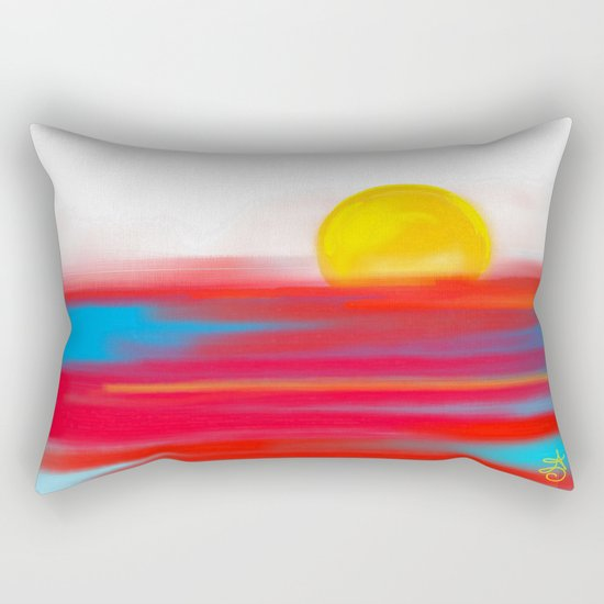 Sketchy Sun and Sea. Sunset and Sunrise Sketch Rectangular Pillow