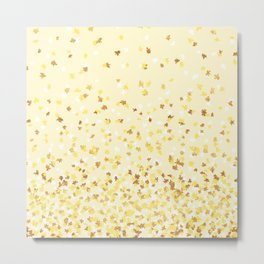 Floating Confetti - Yellow and Gold Metal Print