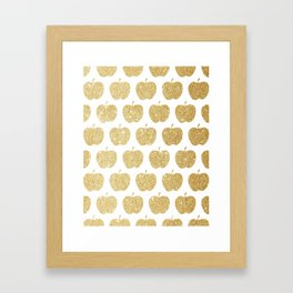 Gold apples pattern Framed Art Print