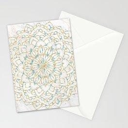 Marble Mandala Sea Shimmer Gold + Turquoise Stationery Cards