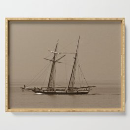 Tall ship and the Fog Serving Tray