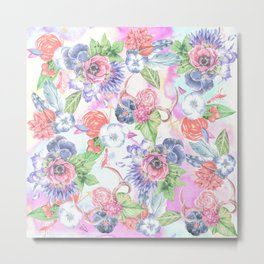 Bohemian Watercolor Flowers Leaves and Antlers Metal Print