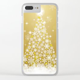 Gold Snowflakes Sparkling Christmas Tree Clear iPhone Case