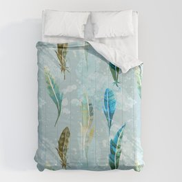 Floating Exotic Feathers Sophisticated Pattern Comforters