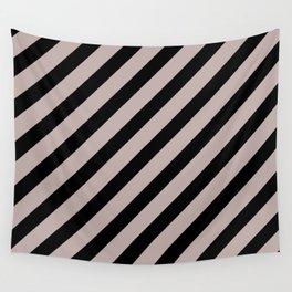 Modern Black & White Minimalist Diagonal Line Pattern Wall Tapestry