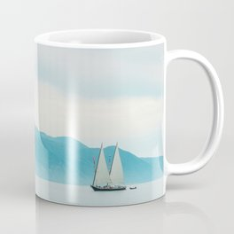 Modern Minimalist Landscape Ocean Pastel Blue Mountains With White Sail Boat Coffee Mug