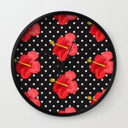 Red hibiscus and white dots Wall Clock