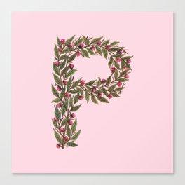 Leafy Letter P Canvas Print