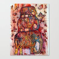 elephants Canvas Prints featuring Elephants by oxana zaika