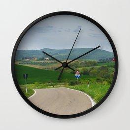 Winding road in green hills Tuscany, Italy Wall Clock