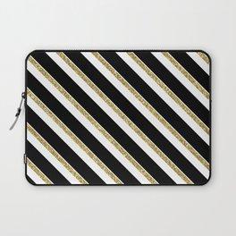 Black Gold White Stripe Pattern 1 Laptop Sleeve