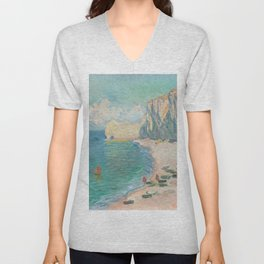The Beach and the Falaise dAmont (1885) by Claude Monet Unisex V-Neck