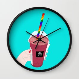 Salted Caramel Raspberry Ice Frappe Wall Clock