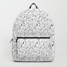 Sleeping Nordic Forest Monochrome Bear Backpack