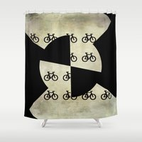 bikes Shower Curtains featuring Abstract form with bikes by LoRo  Art & Pictures
