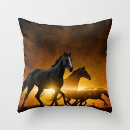 Wild Black Horses Throw Pillow