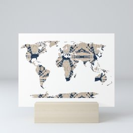 Shibori Map of World 2 Mini Art Print