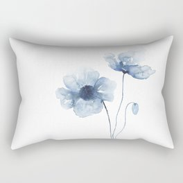 Blue Watercolor Poppies Rectangular Pillow