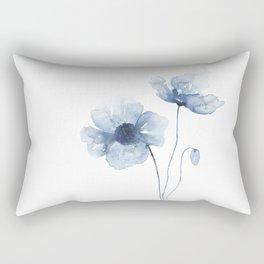Blue Watercolor Poppies Rechteckiges Kissen