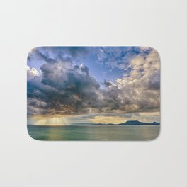 Heavenly lights through storm clouds over Lake Balaton Bath Mat