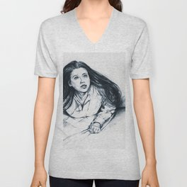 Drawing of Mary, mother of Jesus Unisex V-Neck