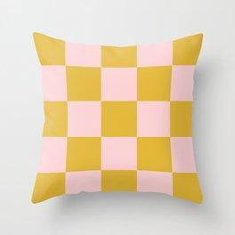 Classic Checkerboard Yellow Peach Lavellan Throw Pillow
