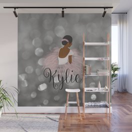 African American Ballerina Dancer Personalized Name KYLIE Wall Mural