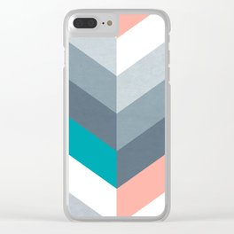 Vertical Chevron Pattern - Teal, Coral and Dusty Blues #geometry #minimalart #society6 Clear iPhone Case