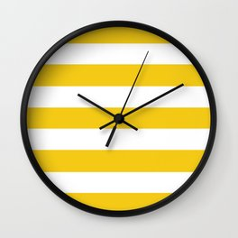 Jonquil - solid color - white stripes pattern Wall Clock