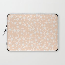 Pretty Peach/Apricot and White Stars Laptop Sleeve