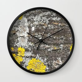 Beautiful lichen on tree bark Wall Clock