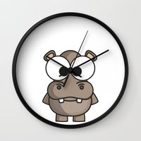 hippo Wall Clocks featuring Hippo by binbinrobin